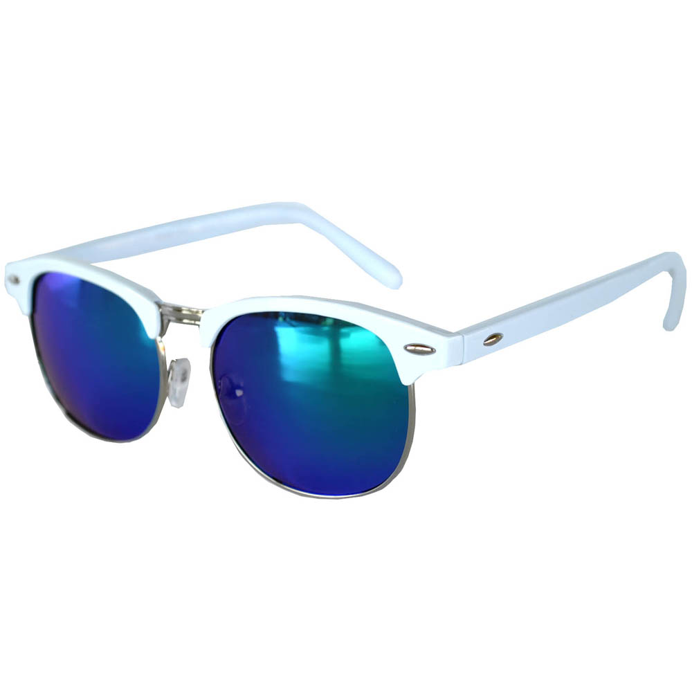 Mirror Frame Glasses Owl Eyewear Half Frame Sunglasses White Silver Metal Frame Mirror Blue Green Lens One Pair