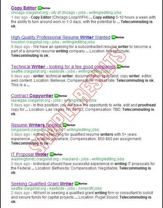 Search for ALL Freelance Writing Jobs at CraigsListorg Online - resume writing jobs