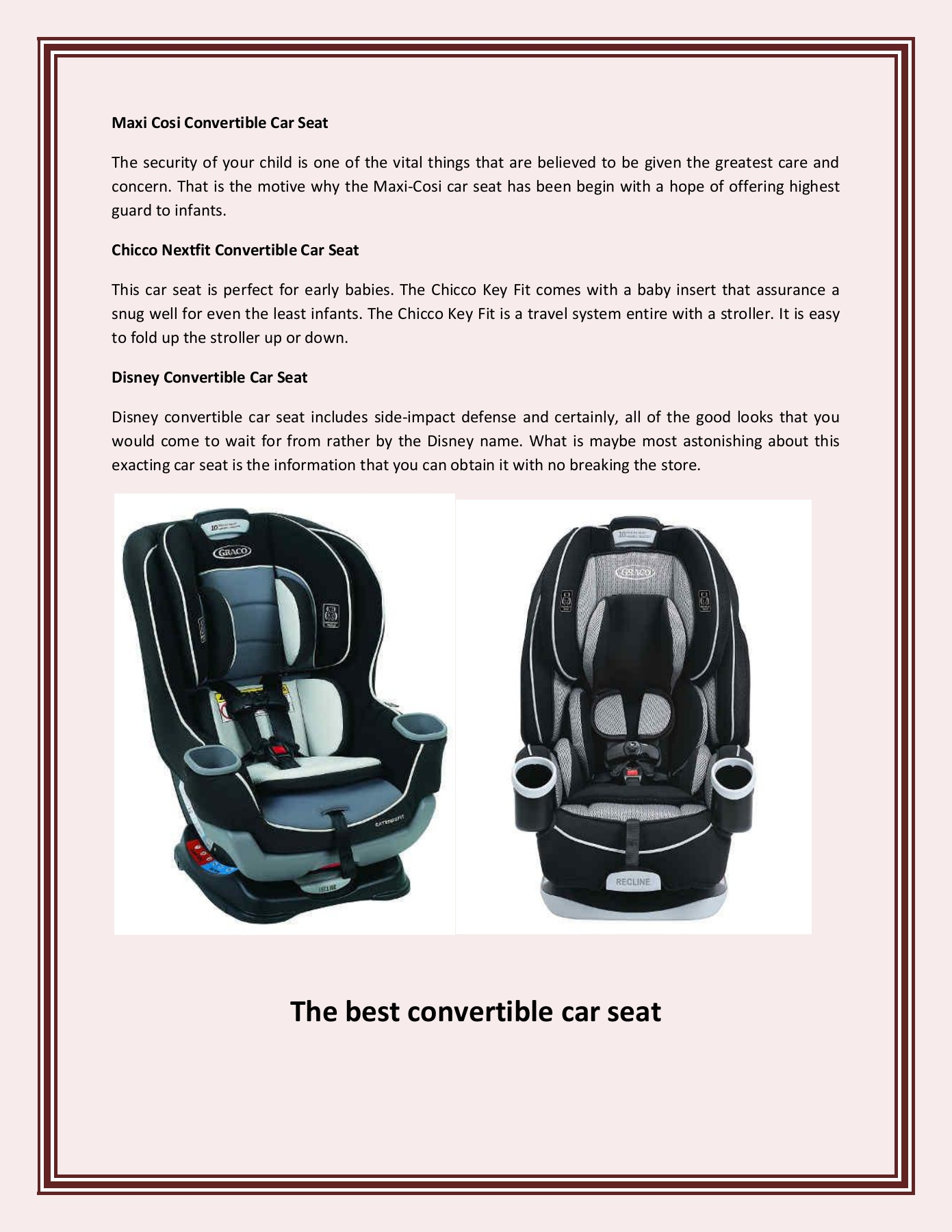 Graco Infant Car Seat Stroller Instructions The Best Convertible Car Seat Pages 1 2 Text Version