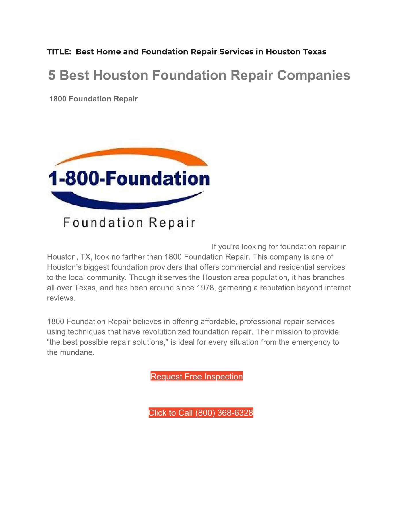 Home Repair Companies Best Home And Foundation Repair Services In Houston Texas Pages 1