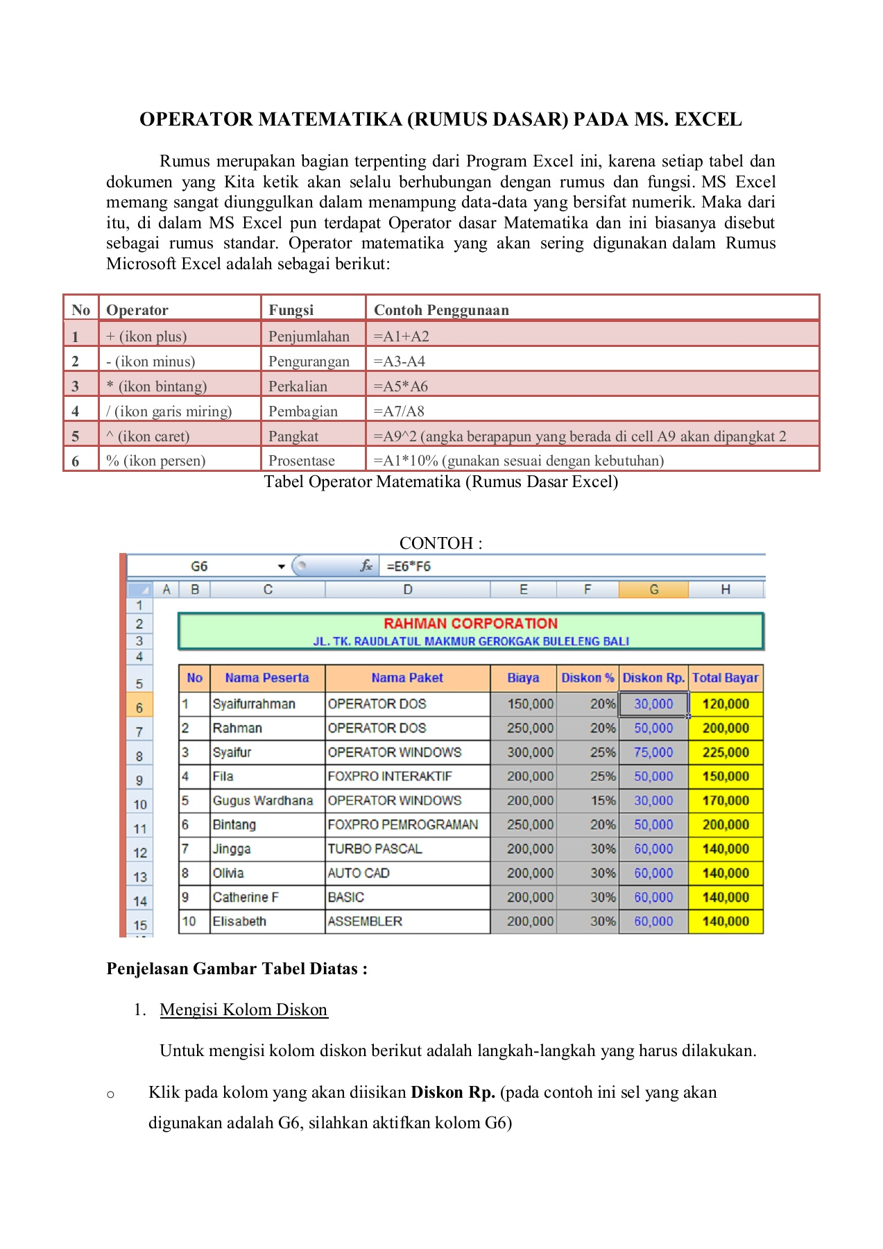 Rumus Biaya Rumus Sederhana Excel Pages 1 5 Text Version Anyflip