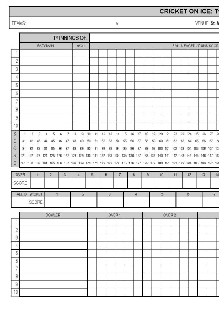 CRICKET ON ICE T20 Scoresheet FlipHTML5
