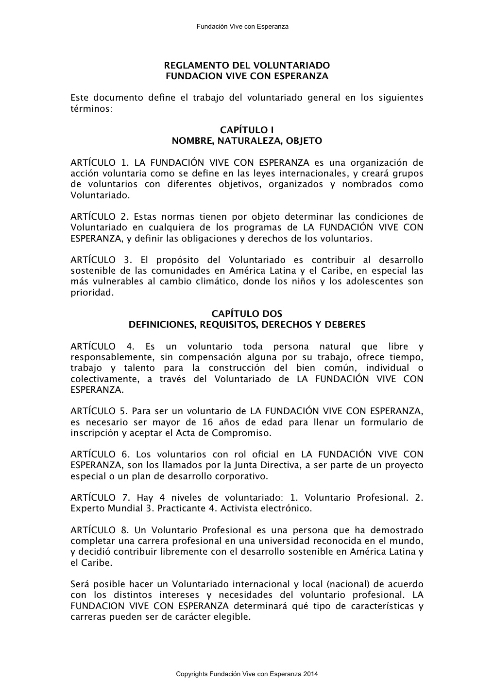 Tiempo Libre Definicion Reglamento Del Voluntariado Español Pages 1 4 Text Version