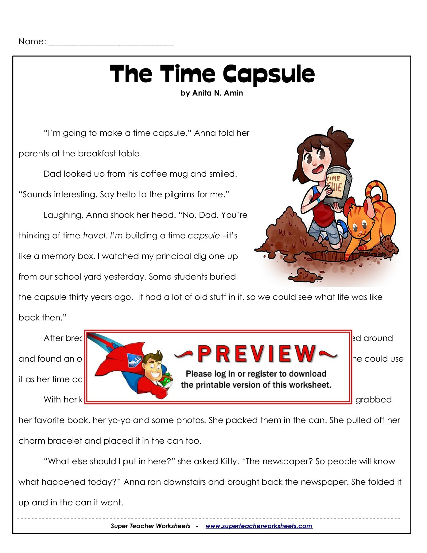 Red 1 Next To Time Capsule The Time Capsule Super Teacher Worksheets