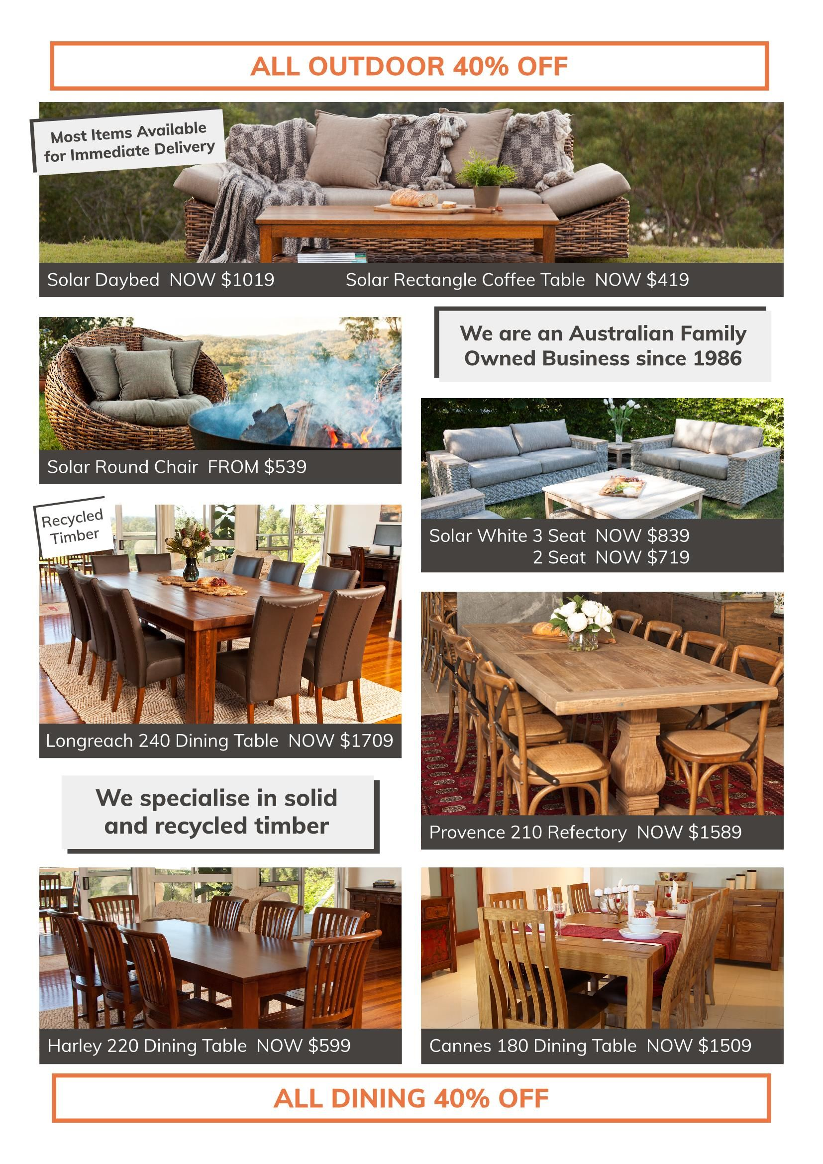 Eureka Street Furniture Townsville Summer Sale On Now - Outdoor Furniture Clearance Townsville