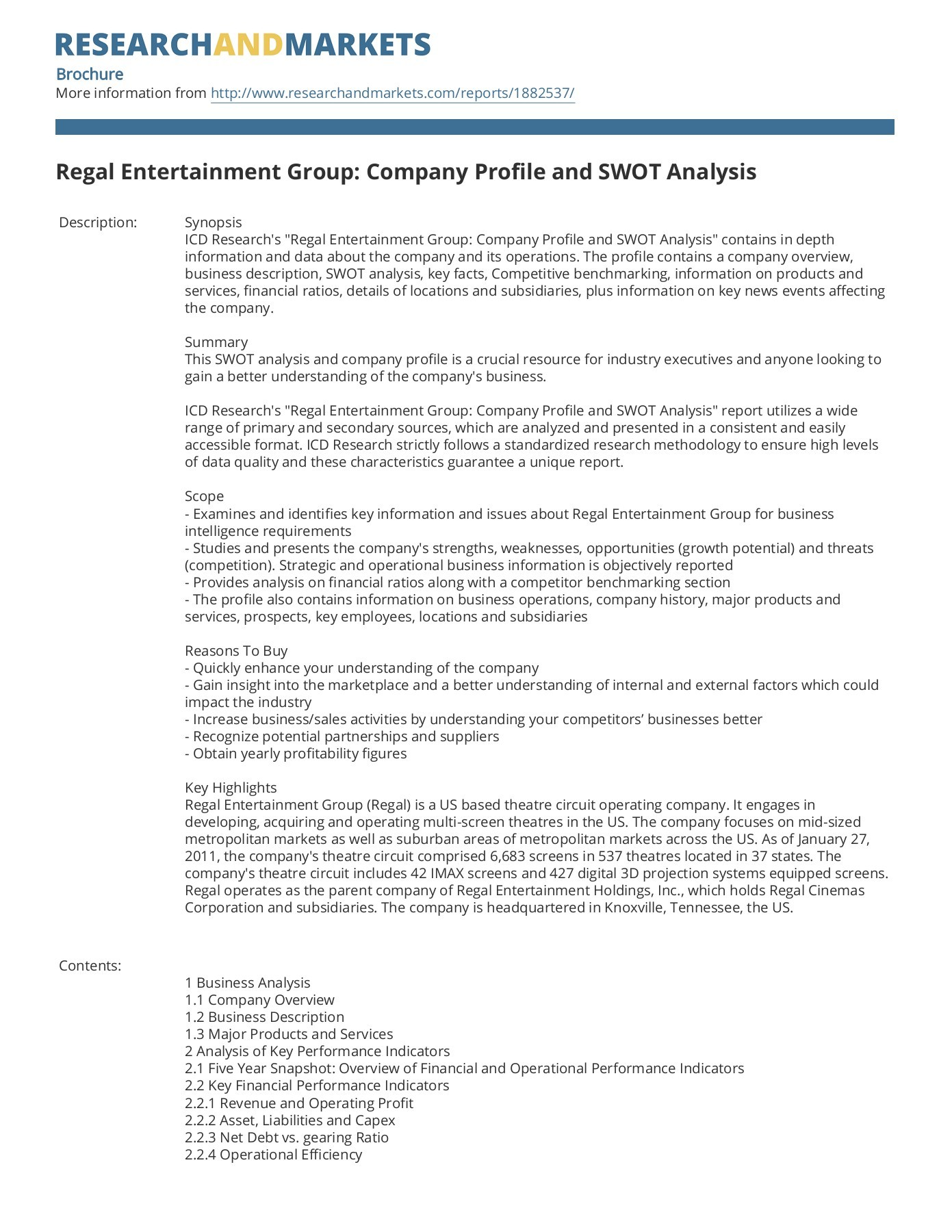 Regal Entertainment Group Company Profile And Swot Analysis - Glasregal Profil