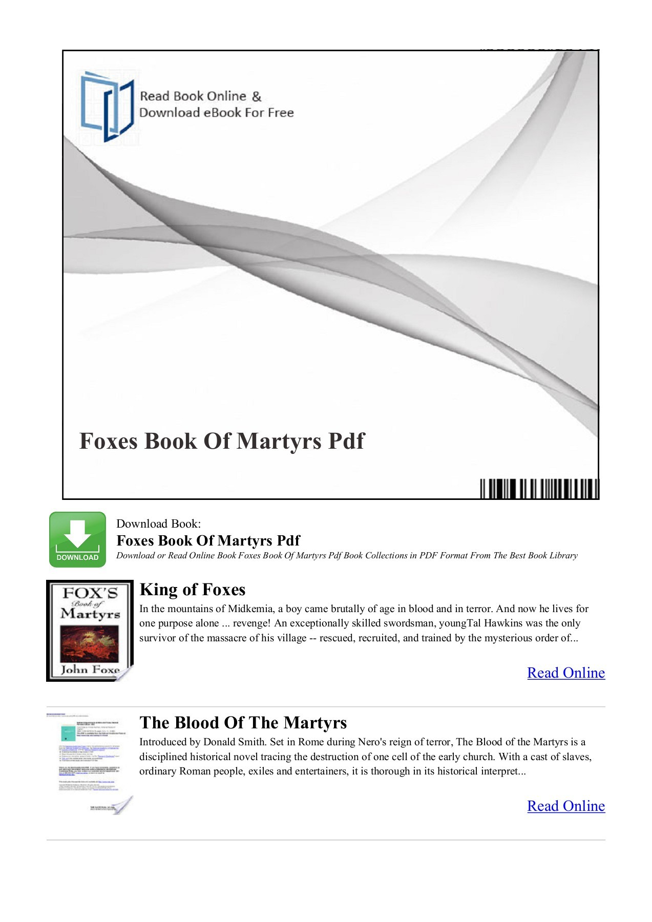 Read The Book Online Foxes Book Of Martyrs Pdf Jlebooks Pages 1 4 Text Version