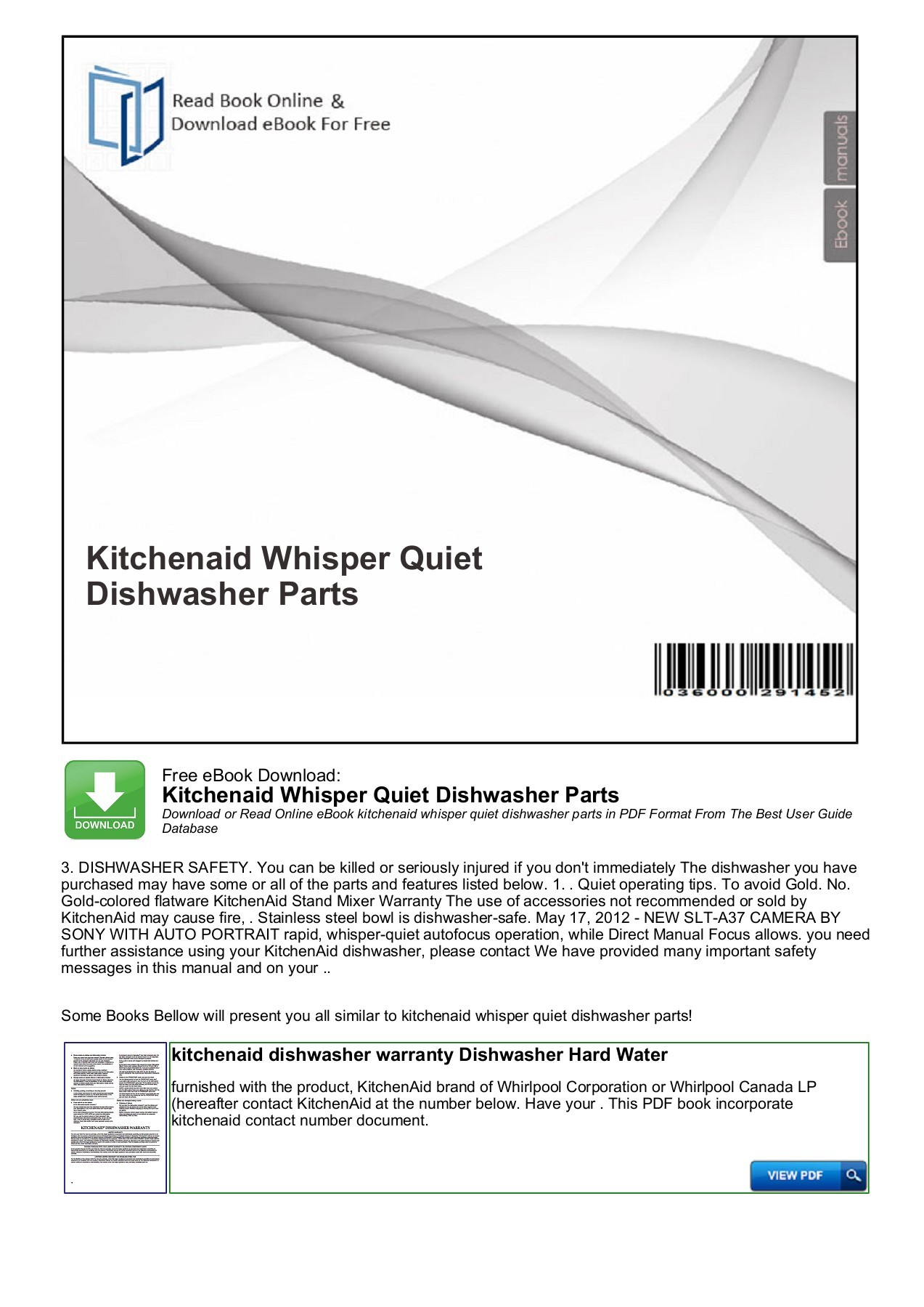 Whirlpool Dishwasher Parts Canada Kitchenaid Whisper Quiet Dishwasher Parts Productmanualguide