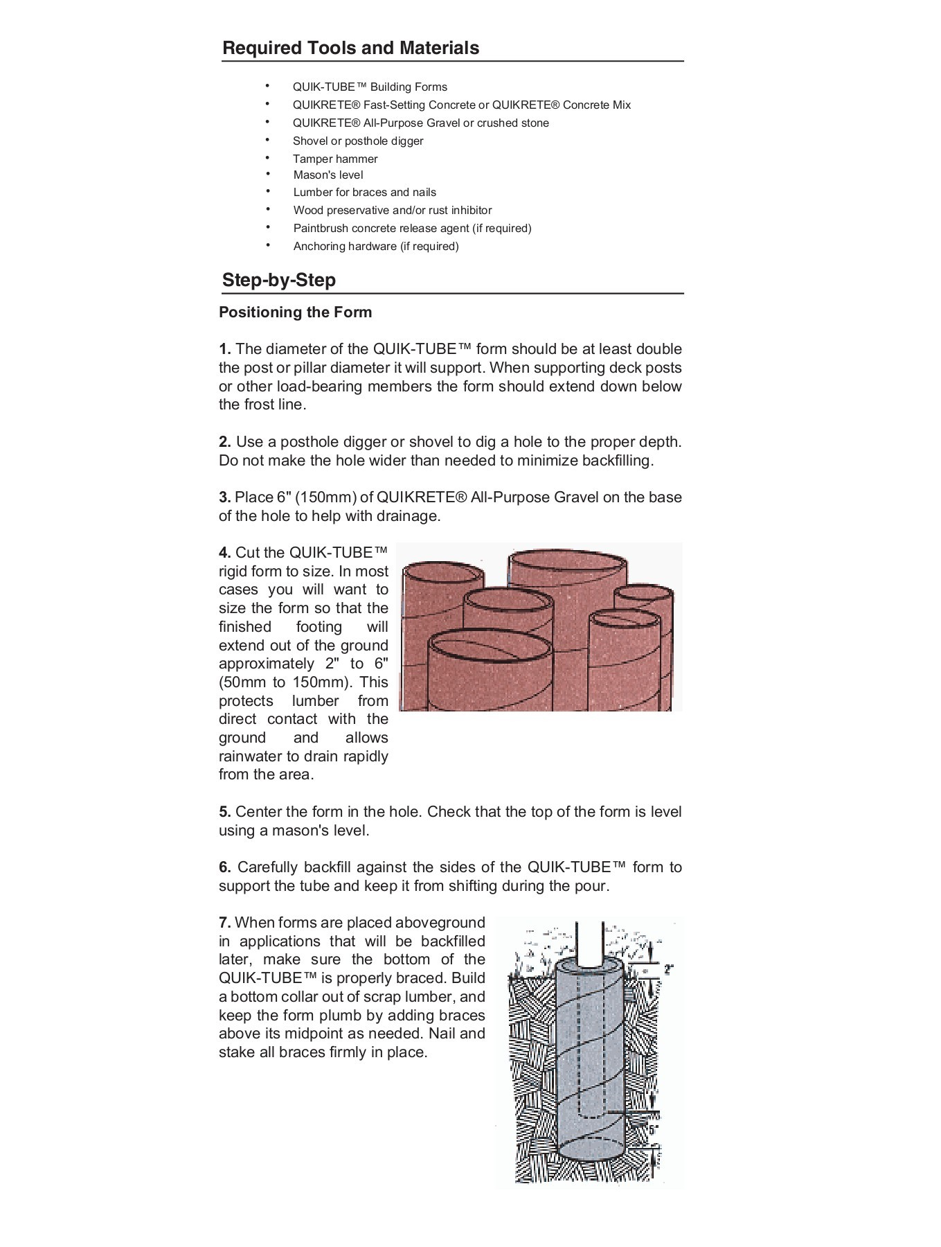 Concrete Tube Forms Project Quik Tube Pillar Foundations Quikrete Pages 1 4