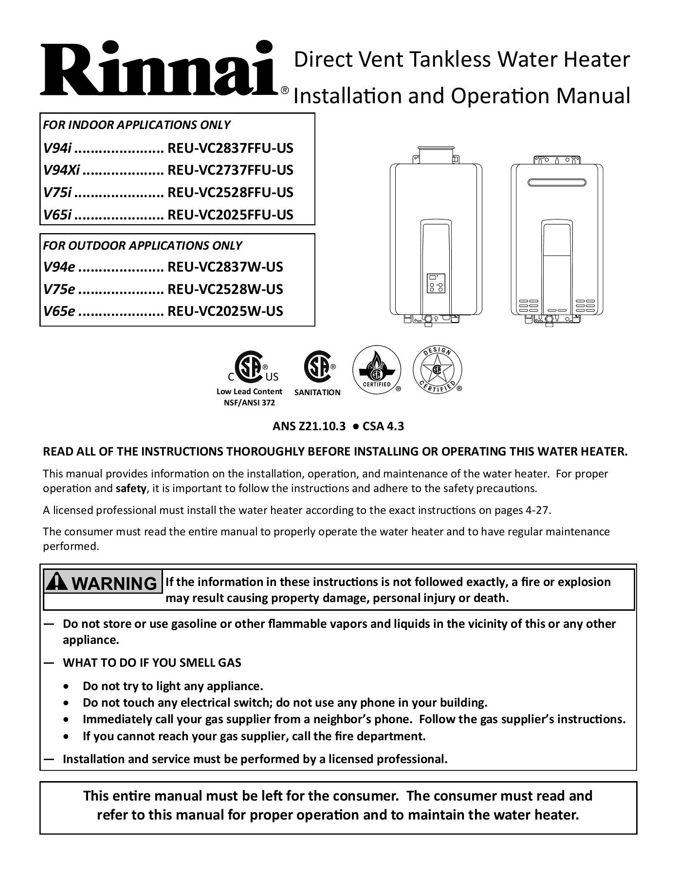 Store Vertical Exterieur Coupe Vent Tankless Water Heater Owner S Manual Pages 1 50 Text Version