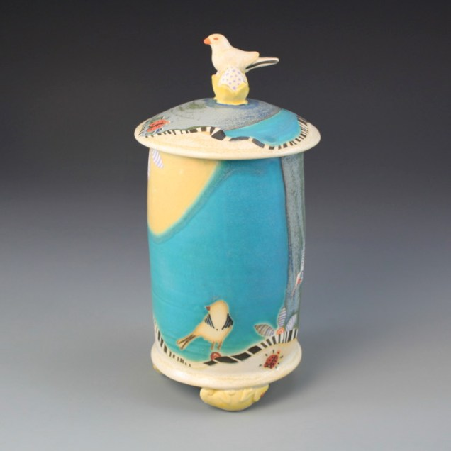 "8"" Tall Porcelain Jar. Elegant way to store a special tea!"