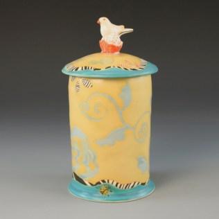 Akar Gallery - Bird with Tulips Tea Jar
