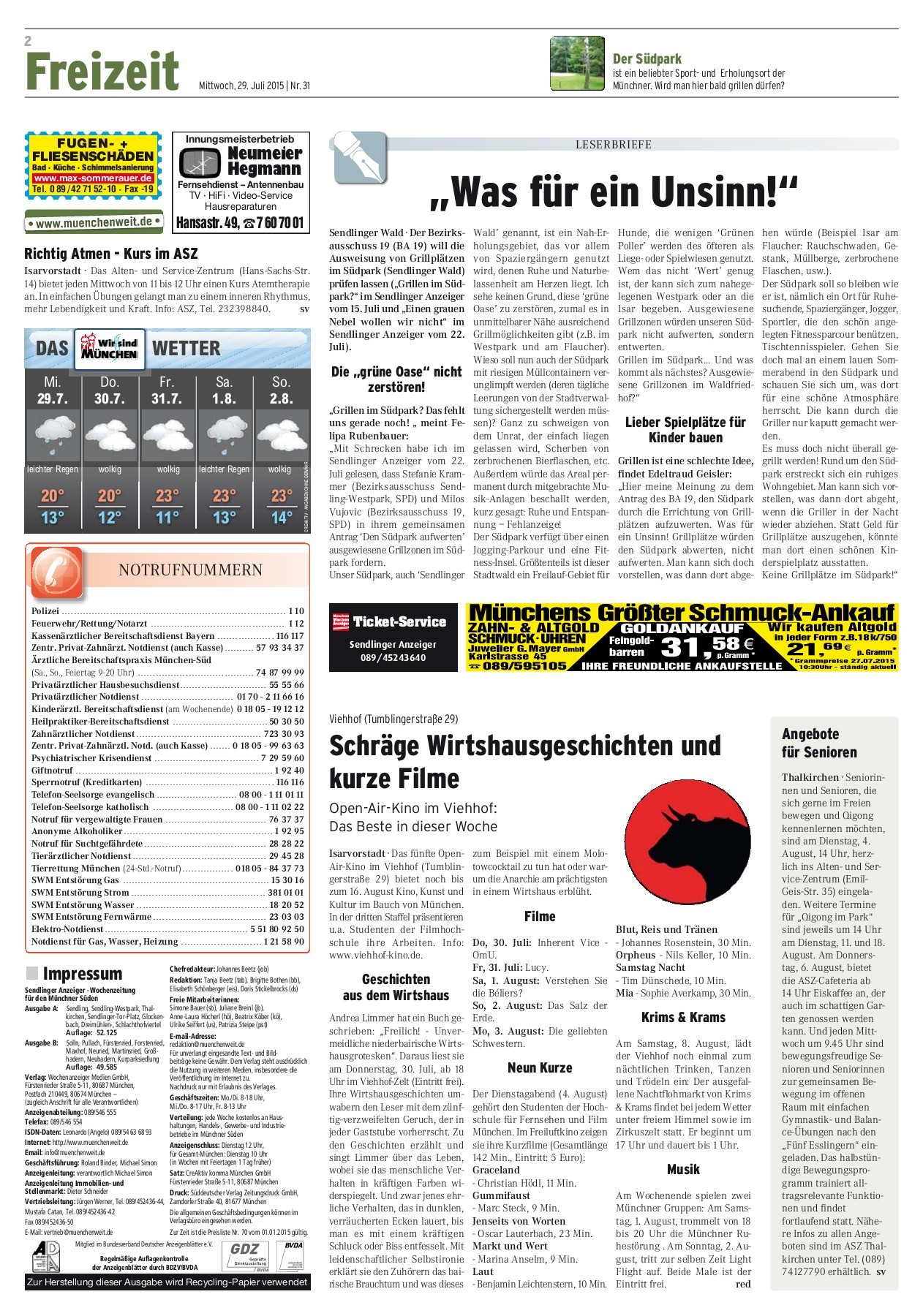 Waschmaschine Miele W1 2 J Alt In Frankfurt Sendlinger Anzeiger Kw 31 2015 Pages 1 40 Text Version Pubhtml5