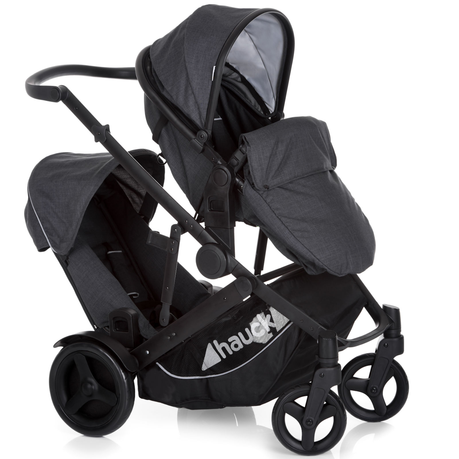 Twin Buggy Travel System Hauck Duett 3 Tandem Pushchair Melange Charcoal Buy At