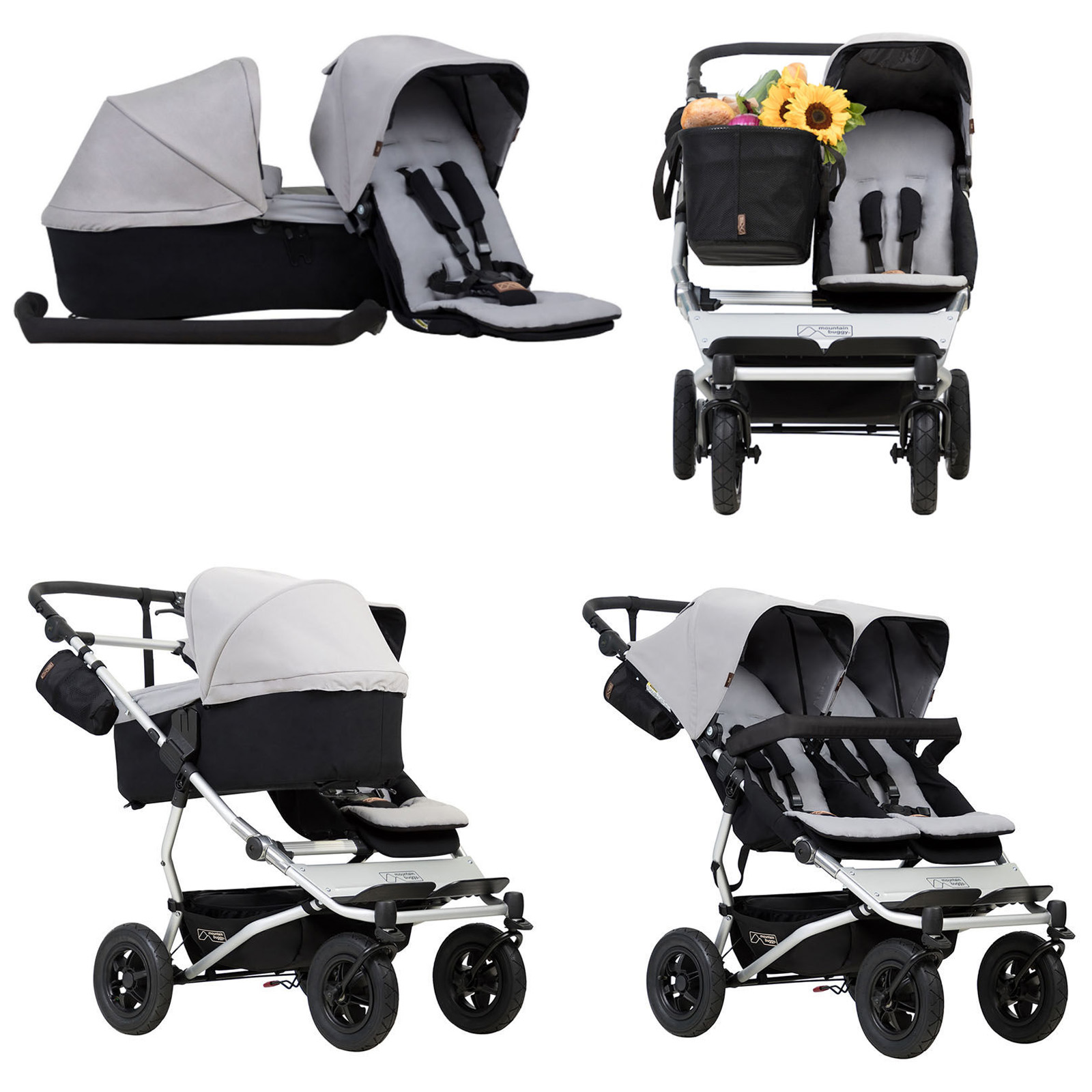 Mountain Buggy Double Kit Mountain Buggy Duet V3 Single Twin Pushchair With Family