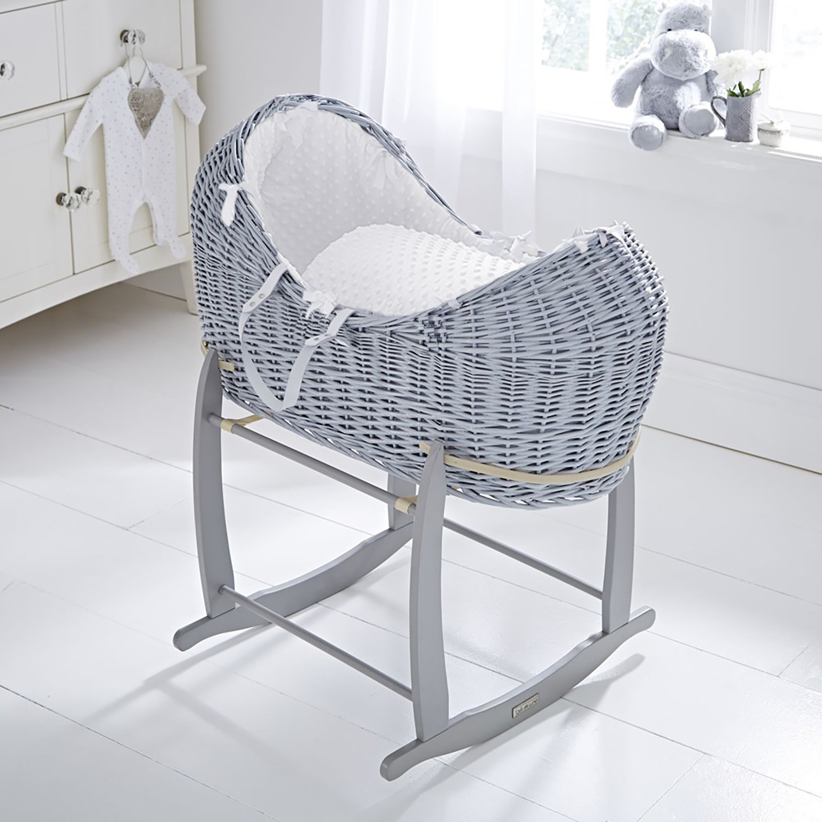 Baby Cots Next Clair De Lune Grey Wicker Noah Pod Deluxe Rocking Stand