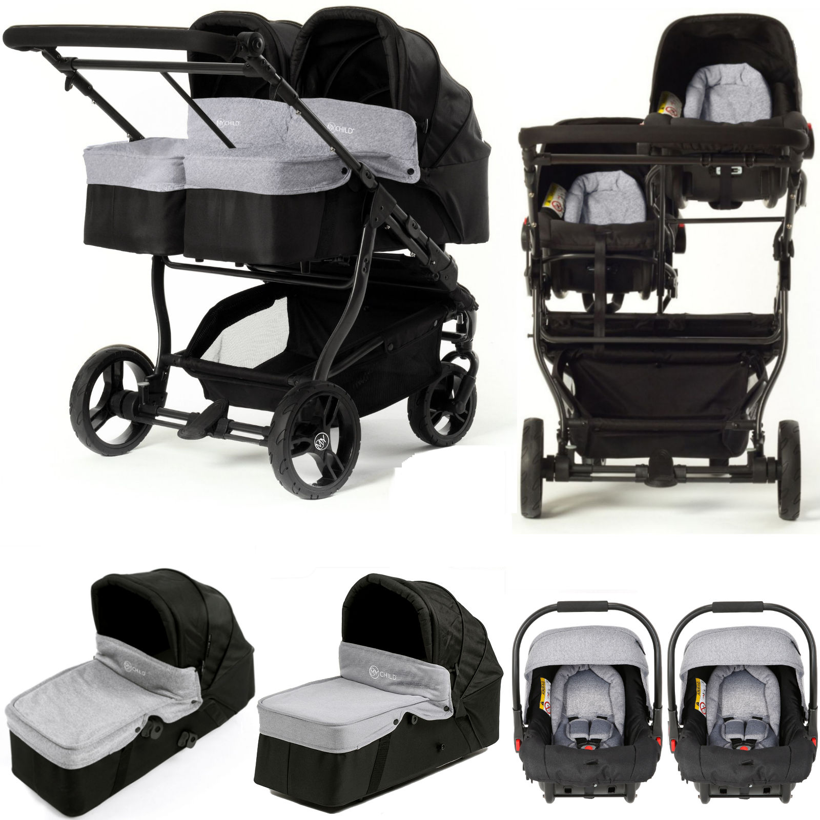 Twin Stroller Brands My Child Easy Twin Double Stroller Travel System
