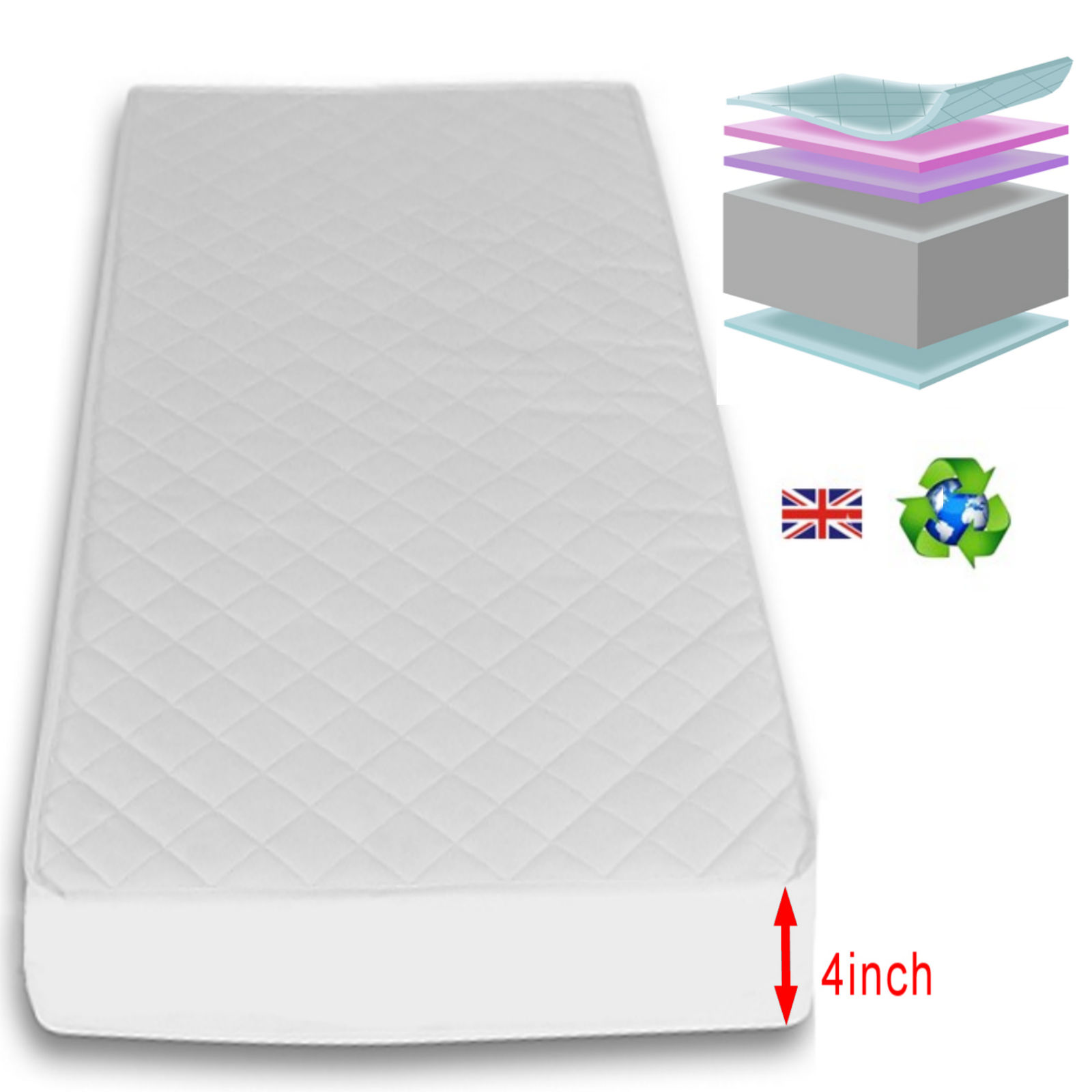 Mattress Cot 4baby 4 Inch Deluxe Foam Cot Bed Safety Mattress 140 X 70cm