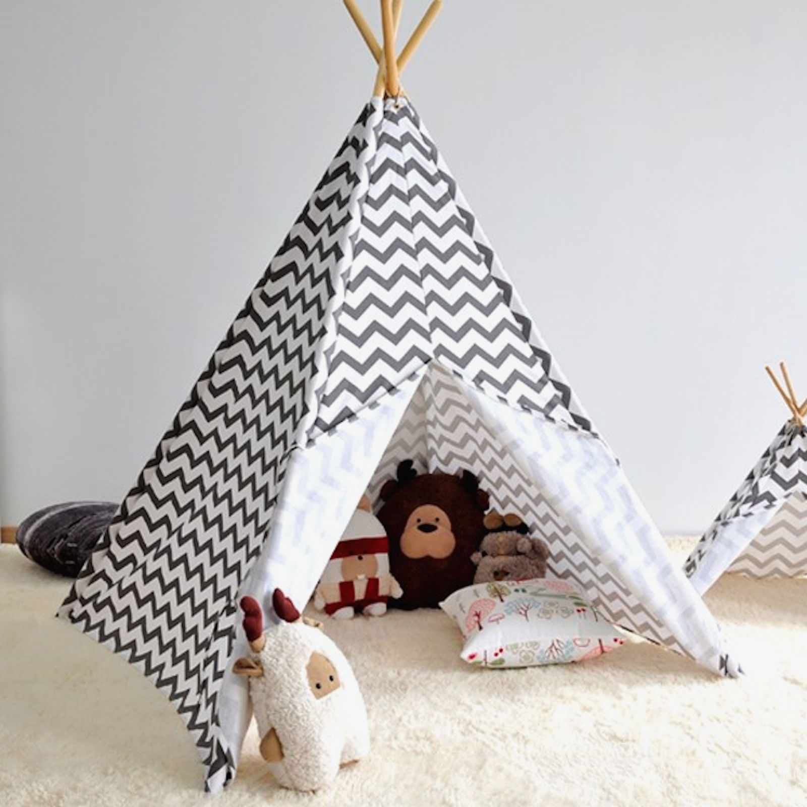 Teepee Kids 4baby Large Kids Teepee Baby Play Tent Chevron Grey
