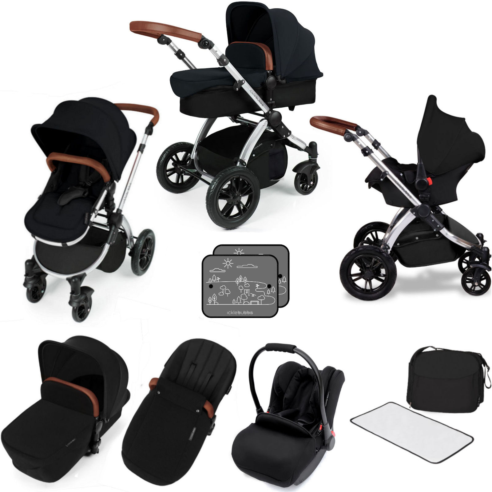 Baby Buggies Travel System Ickle Bubba Stomp V3 Silver All In One Travel System