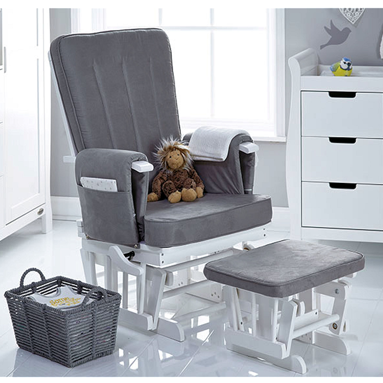 Grey Nursing Chair Obaby Deluxe Reclining Glider Nursing Chair Stool White Grey Cushions