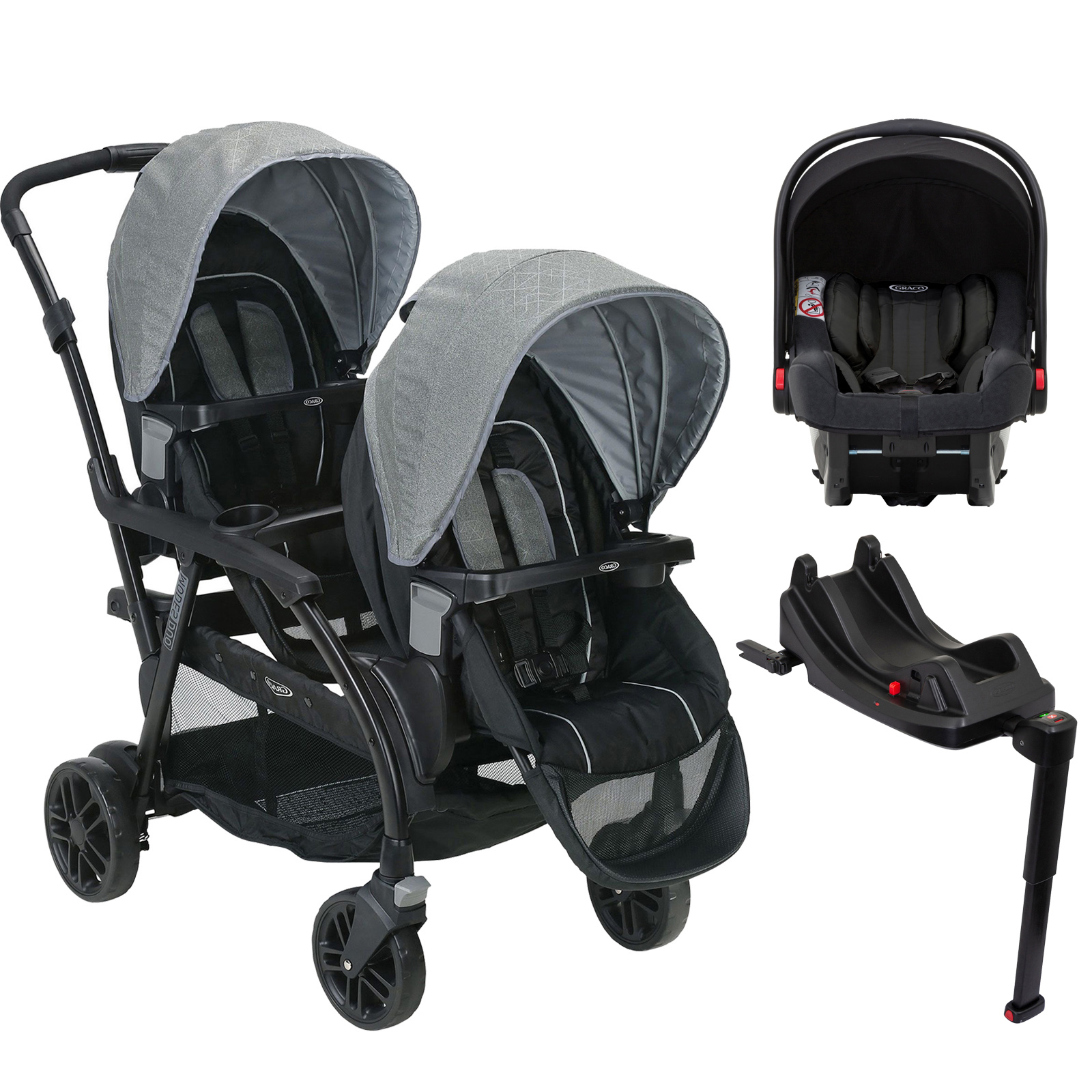 Pram Extra Seat Graco Modes Duo Tandem Double Pram Travel System Isize Car