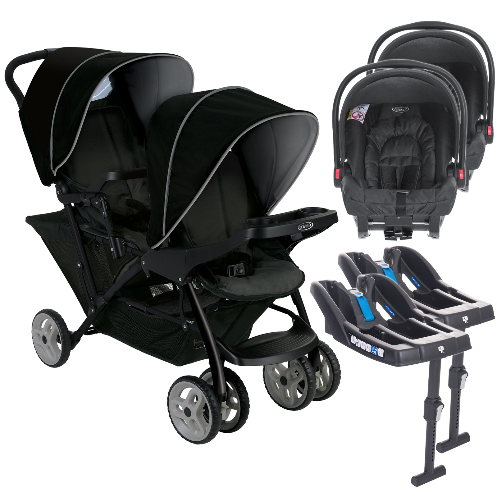 Twin Stroller And Carseat Graco Stadium Duo Double Pram Twin Travel System With 2 Snugride Car Seat Bases Black Grey