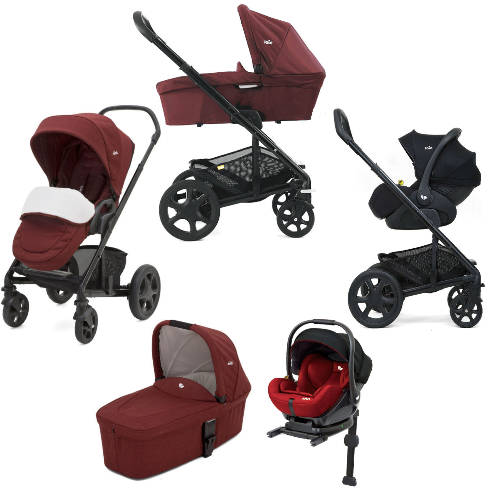 Joie Buggy Chrome Test Joie Chrome Dlx I Level Travel System With Carrycot Inc Footmuff Isofix Base Cranberry