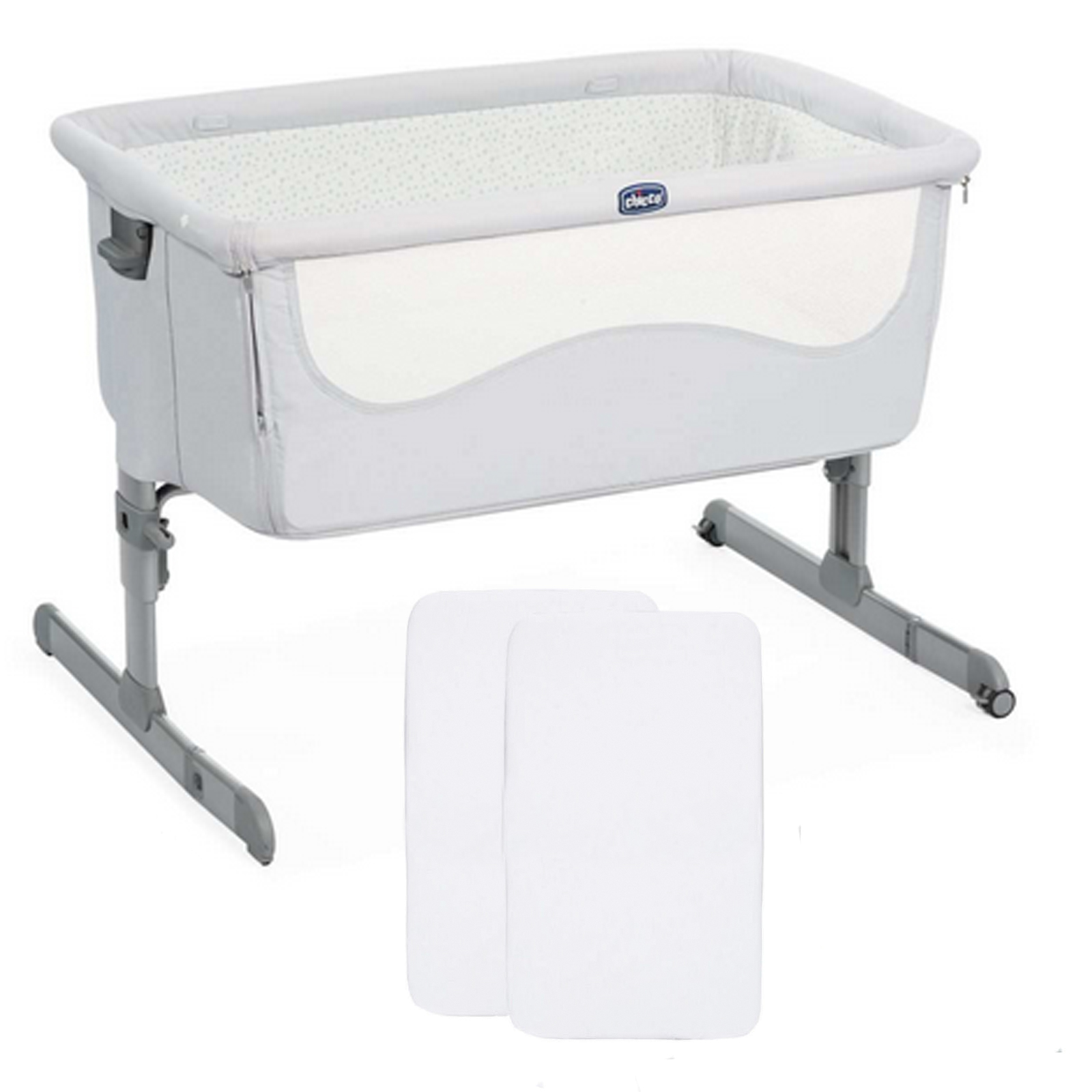 Baby Cots X2 Chicco Next2me Bedside Crib With 2 Fitted Sheets Light
