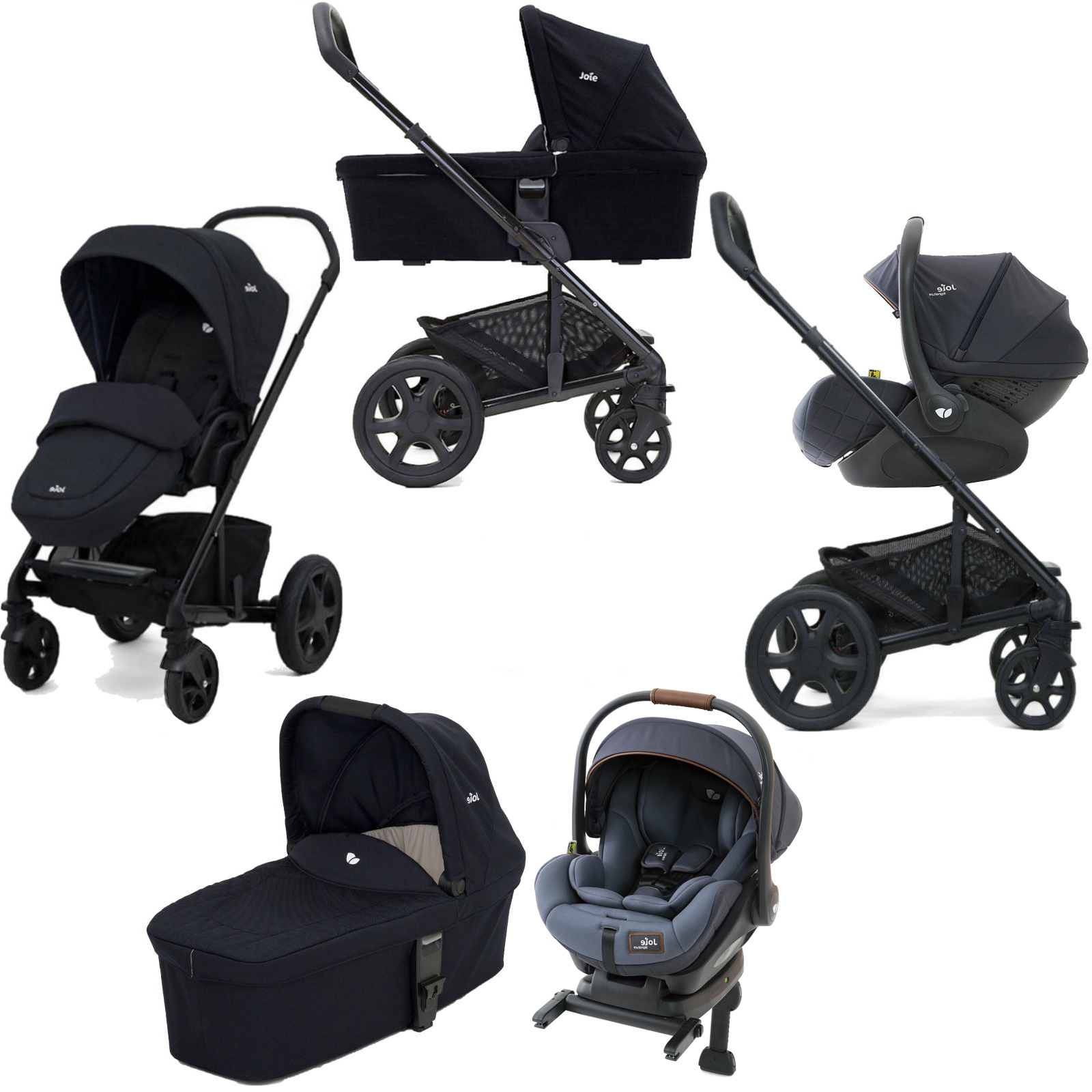 Joie Gemm & Isofix Base Bundle Joie Chrome Dlx I Level Travel System With Carrycot Inc