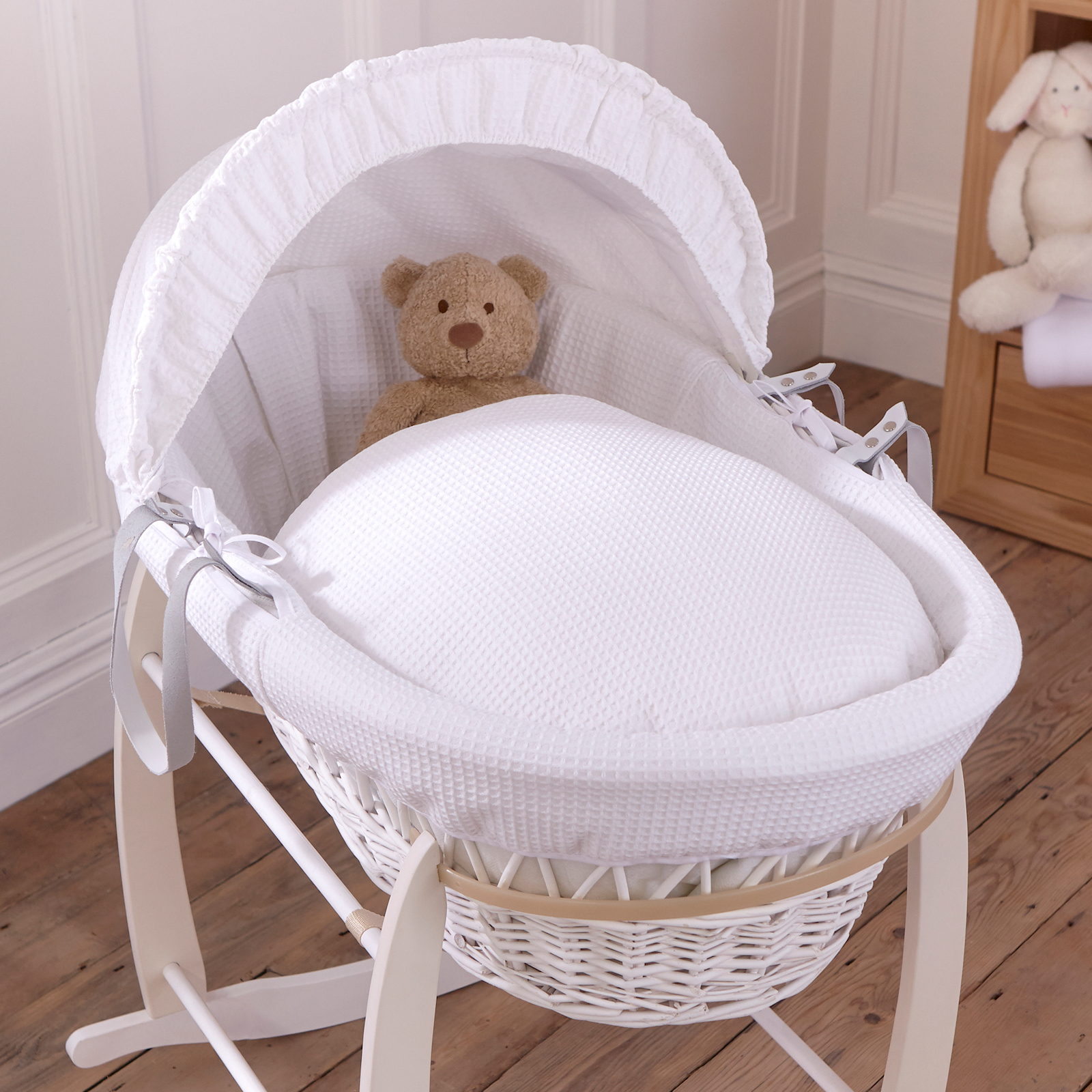 Baby Cots Next Clair De Lune Deluxe Padded White Wicker Baby Moses Basket