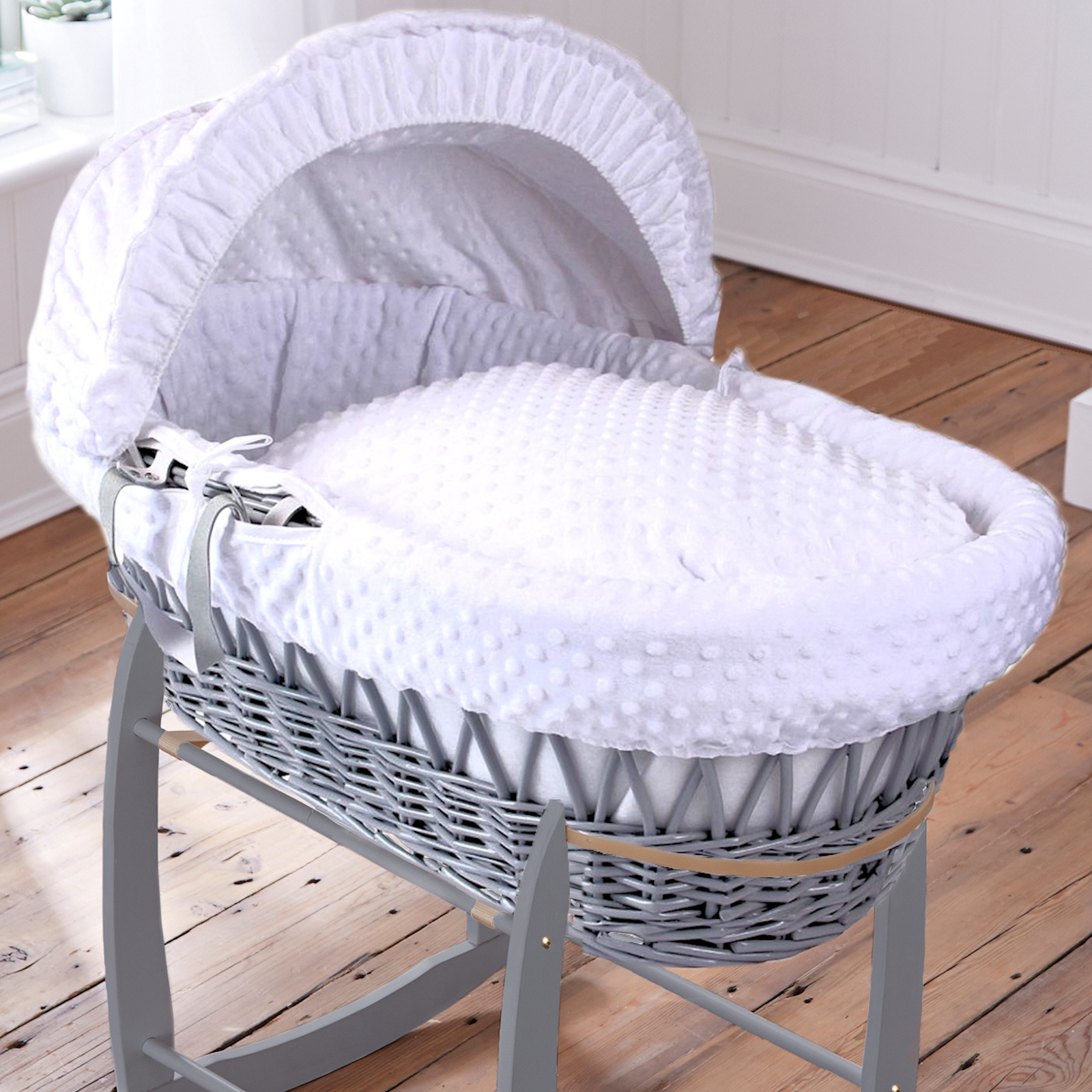 Baby Cots Next Clair De Lune Deluxe Padded Grey Wicker Baby Moses Basket