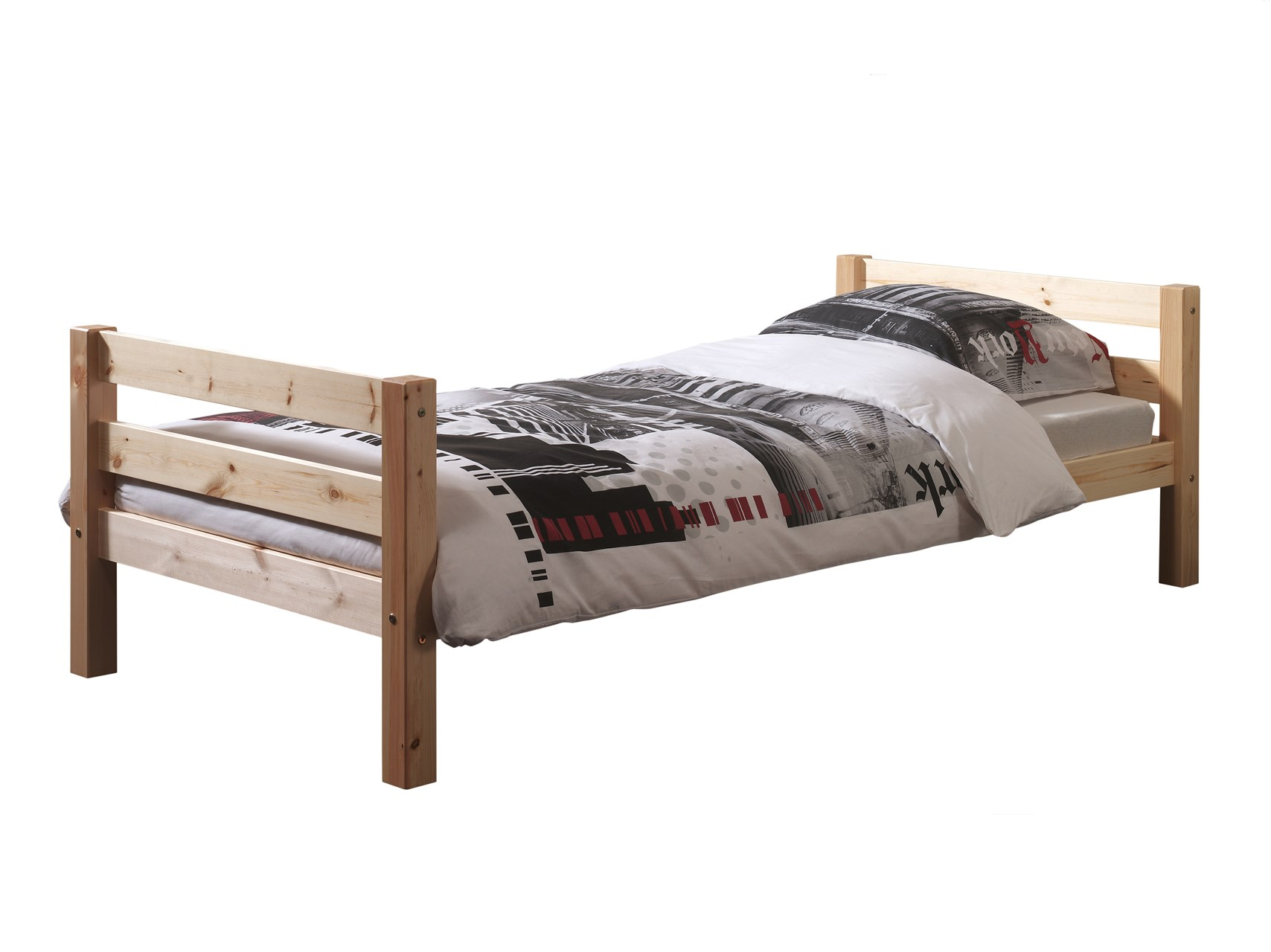 Houten Bed 1 Persoons Vipack Ledikant Pino Natuur Hout