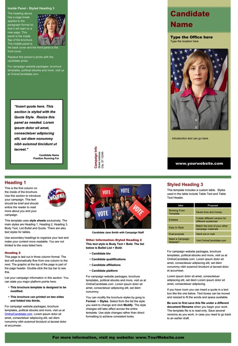 Political Brochure Templates \u2013 Green and Tan Theme Online Candidate - political brochure