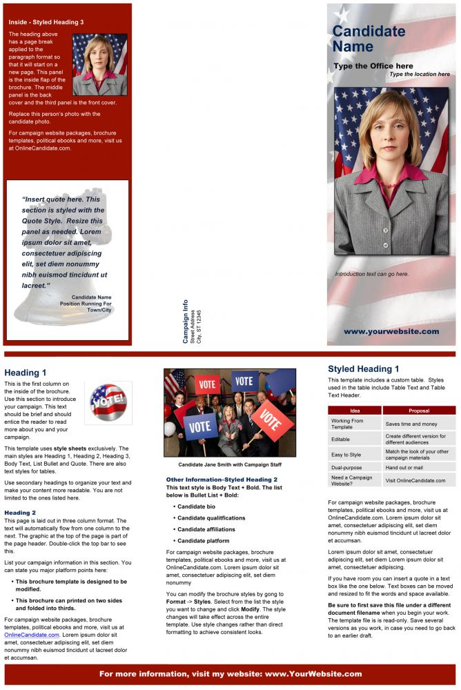 Political Print Templates \u2013 Red Liberty Bell Theme Online Candidate - political brochure