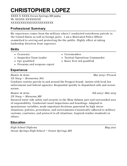 master at arms resume sample