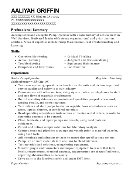 timberline sample resume