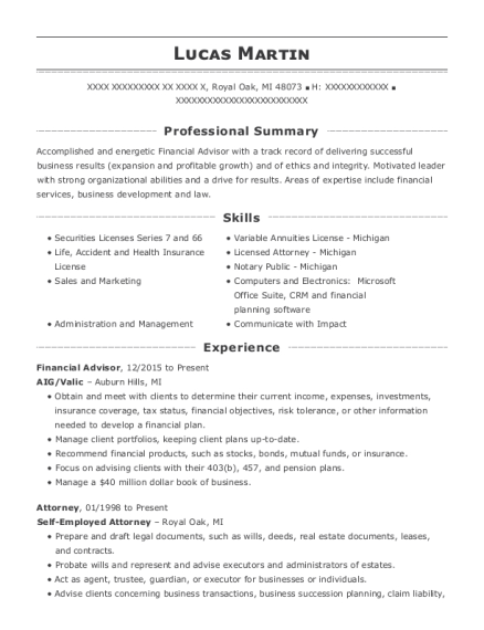 self employed attorney resume sample