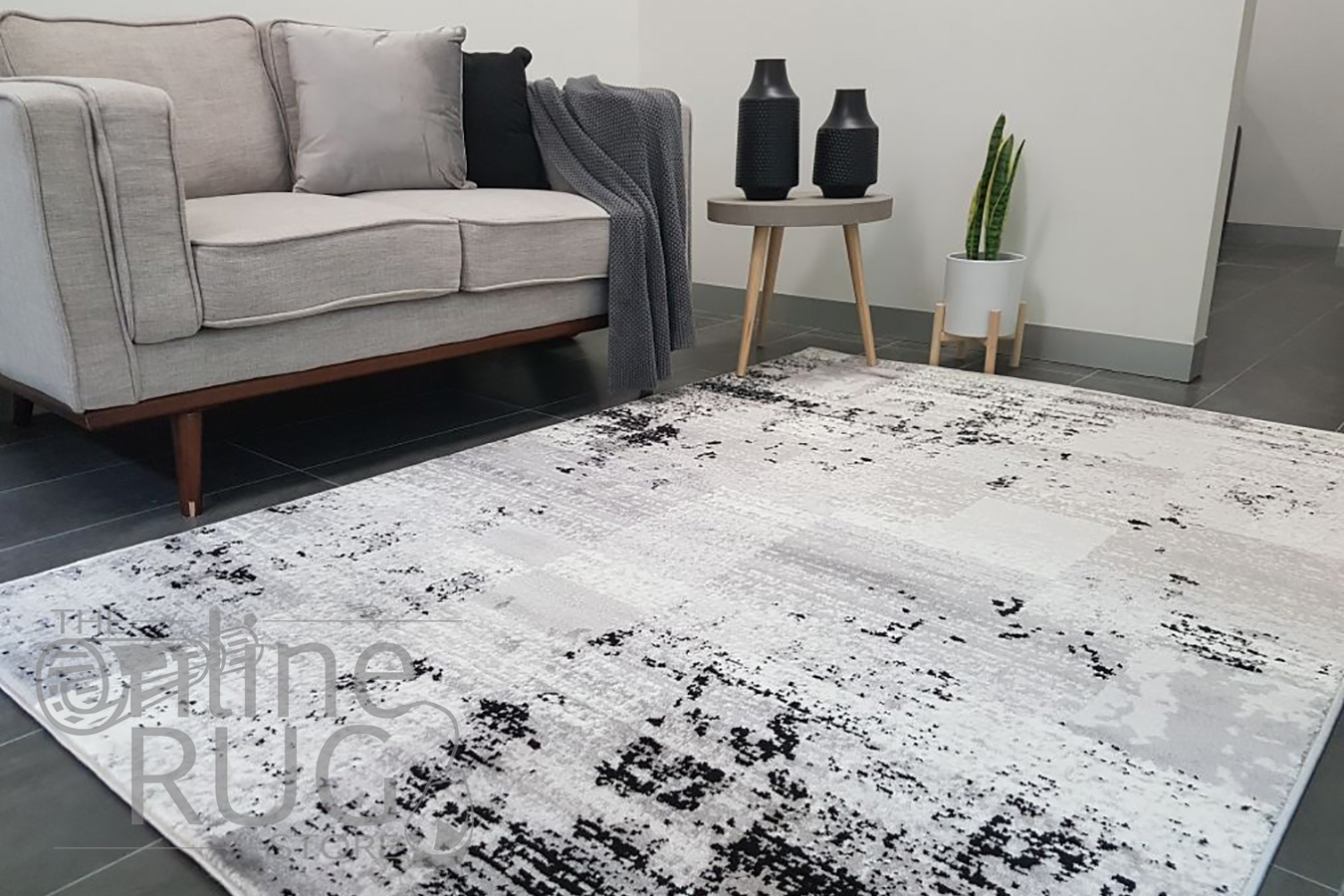 Freedom Furniture Rugs Freedom Grey Monochrome Tile Abstract Pattern Rug