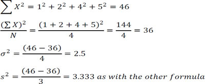 How is simple variance calculated?