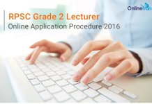 RPSC Grade 2 Lecturer Online Application Procedure 2016