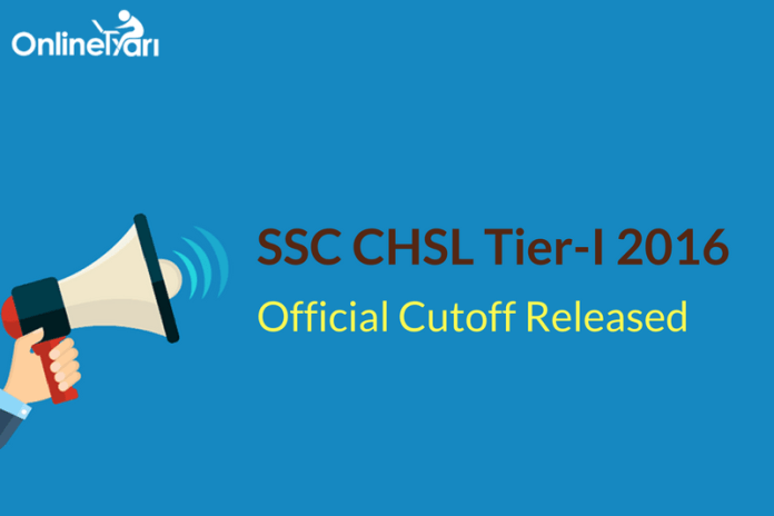 SSC CHSL Tier 1 Cut off 2016