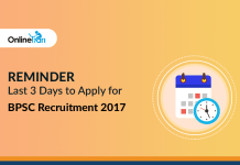 Reminder: Last 3 Days to Apply for BPSC Recruitment 2017