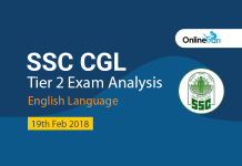 SSC CGL Tier 2 Exam Analysis, English Language: 19th Feb 2018
