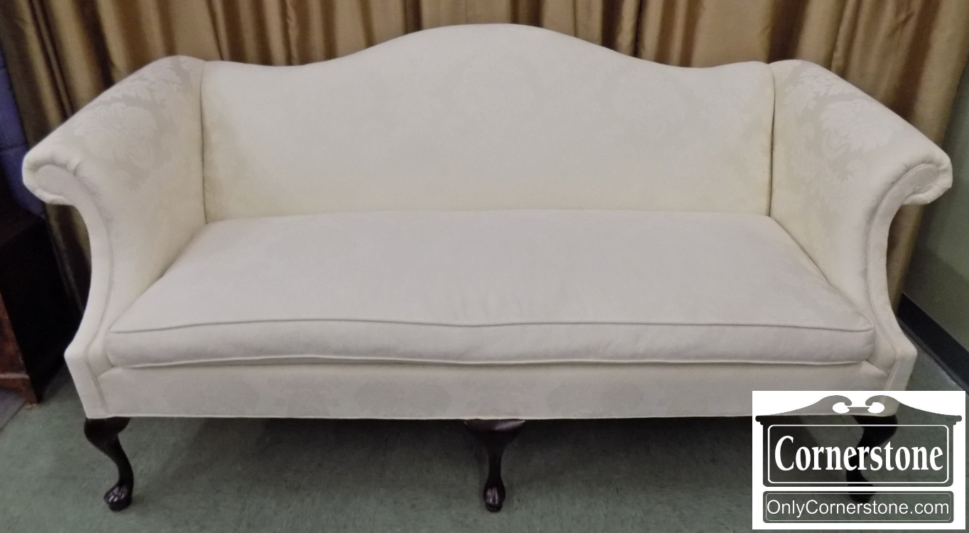 Sofa Queen Anne Hancock Moore White Upholstered Sofa