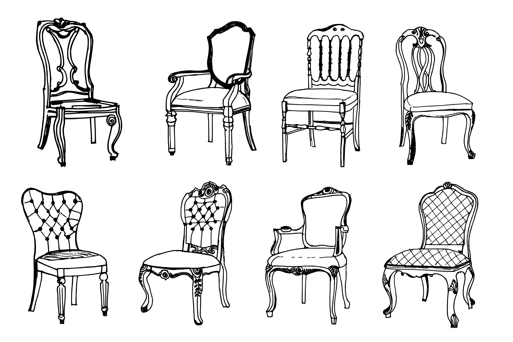 Vintage 8 8 Vintage Antique Chair Drawing Png Transparent Onlygfx