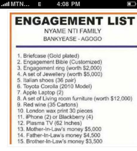 Nigerian wedding Engagement List ONLY IN NIGERIA - wedding list
