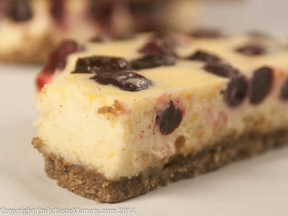 #Lemon #Blueberry #Cheesecake Bars. Rich and creamy as cheesecake, but much easier to make! For the full #recipe, visit OnlyTasteMatters.com