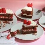 Flourless Chocolate Almond Torte with Raspberries & White Chocolate Whipped Cream