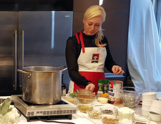 Cooking demonstration at The Quaker Summit from Sam Stephens from OatMeals in NYC.